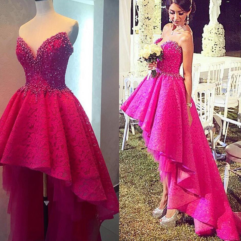 Hot Pink Prom Dress, High Low Prom Dress, Lace Prom Dress ...