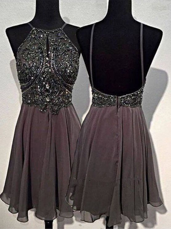 Short Prom Dress, Backless Prom Dress, Gray Prom Dress, Cheap Prom ...