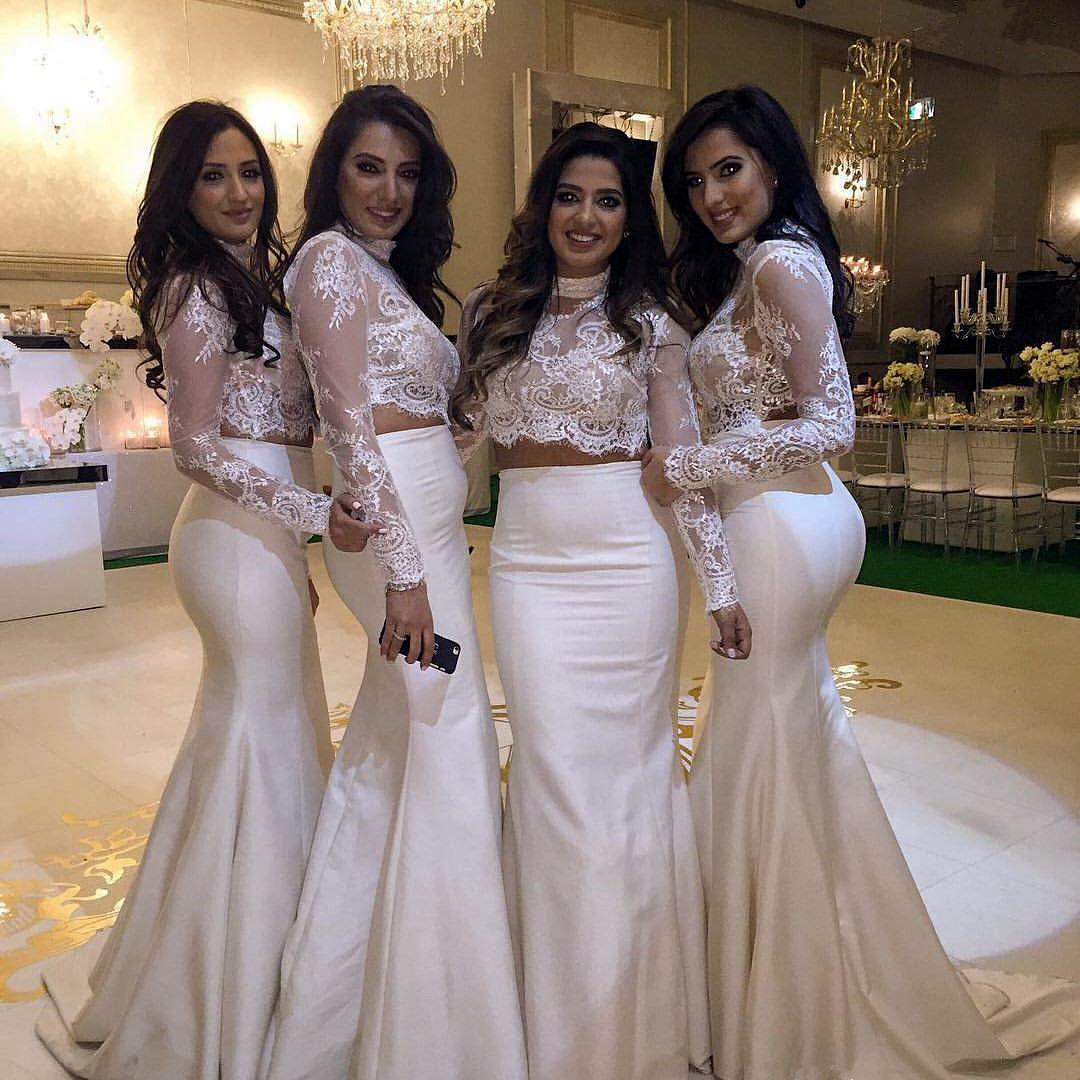 55d5d69b32a62 Ivory Bridesmaid Dresses, Long Bridesmaid Dresses, Elegant Bridesmaid  Dresses, Lace Bridesmaid Dresses, Two Piece Prom Dresses, 2017 New Arrival  Formal ...