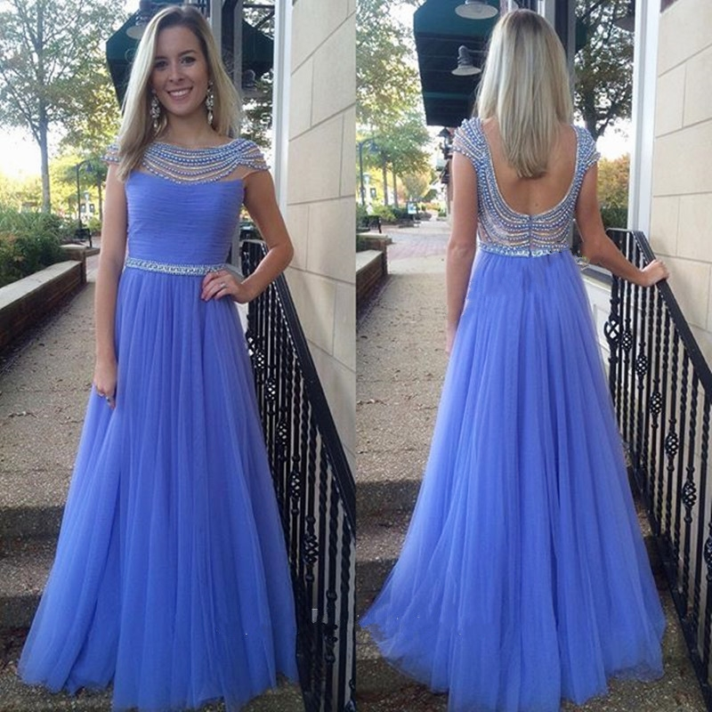 Blue Prom Dress, Tulle Prom Dress, Beaded Prom Dress, Long Prom Dress, A Line Prom Dress, Elegant Prom Dress, Cheap Prom Dress, Prom Dresses 2017, Gorgeous Prom Dress