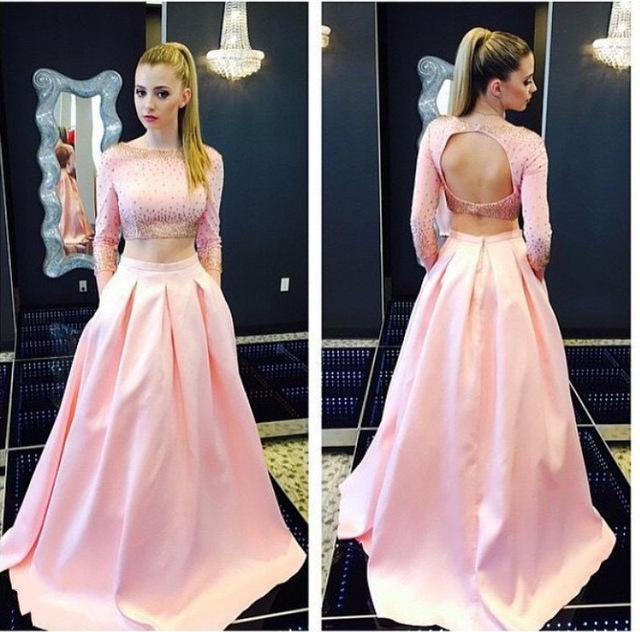 Pink Prom Dresses, 2 Piece Prom Dresses, Elegant Prom Dress, Satin ...