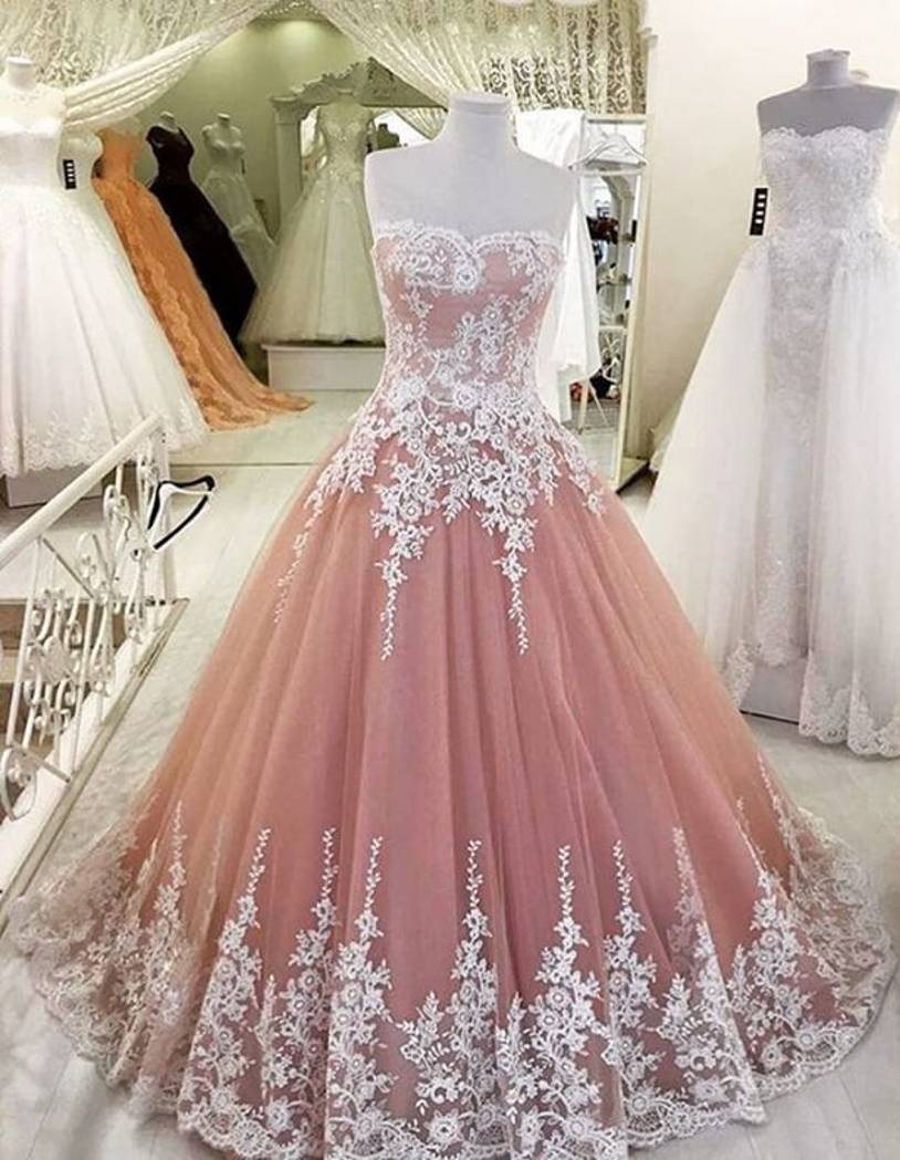 Tulle Prom Dress Dusty Pink Elegant Lace Lique