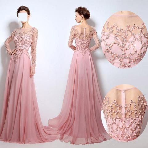 Beaded Prom Dress, Pink Prom Dress, Elegant Prom Dress, Scoop Neck Prom Dress, Long Sleeve Prom Dress, Lace Applique Prom Dress, Chiffon Prom Dress, Prom Dresses 2017, Women Formal Dresses
