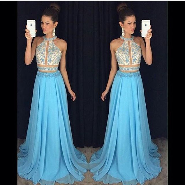 f7828586e2 2 Piece Prom Dresses, Rhinestones Prom Dress, Light Blue Prom Dress ...