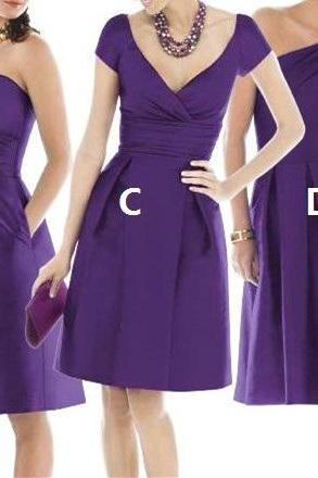 Wedding Party Dresses, 2017 Bridesmaid Dress, Cheap Bridesmaid Dress, Purple Bridesmaid Dress, Satin Bridesmaid Dress, Short Bridesmaid Dress, A Line Bridesmaid Dress, Women Bridesmaid Dress, Custom Bridesmaid Dress