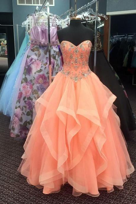 Orange Prom Dress, Beaded Prom Dress, Cheap Quinceanera Dresses, Elegant Prom Dress, A Line Prom Dress, Tulle Prom Dress, Elegant Prom Dress, Floor Length Prom Dress, Vestido De Festa De Longo, Sweetheart Prom Dress, Women Prom Gown