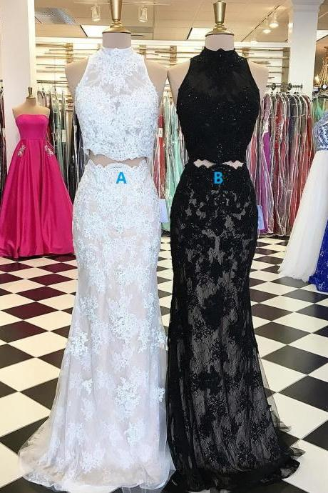2 Piece Evening Dress, Black Evening Dress, White Evening Dress, Lace Evening Dress, Mermaid Evening Dress, Rhinestones Evening Dress, Long Evening Dress, Cheap Evening Dress, Elegant Evening Dress, High Neck Evening Dress, Formal Party Dresses