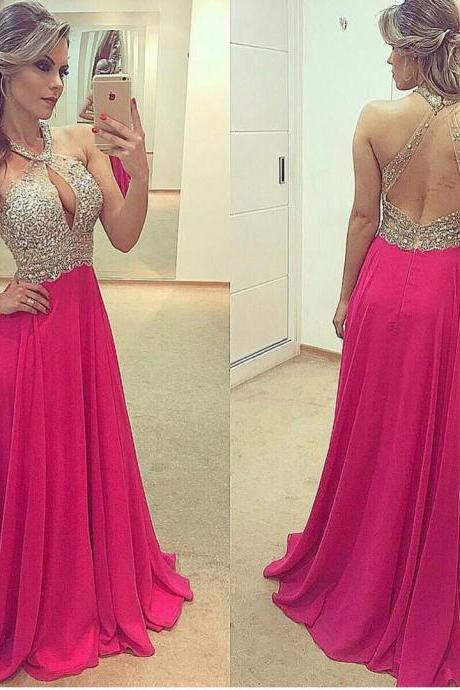 Hot Pink Prom Dress, Sexy Prom Dress, Beaded Prom Dress, Chiffon Prom Dress, Sexy Prom Dress, Backless Prom Dress, Cheap Prom Dress, A Line Prom Dress, Prom Dresses 2017, Vestido De Longo, Women Formal Dresses, Halter Prom Dress, Evening Dresses 2017