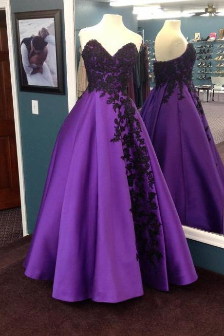 Sweetheart Prom Dress, Purple Prom Dress, Satin Prom Dress, Elegant Prom Dress, Floor Length Prom Dress, Floor Length Prom Dress, A Line Prom Dress, Vestido De Longo, Applique Prom Dress, Prom Dresses 2017