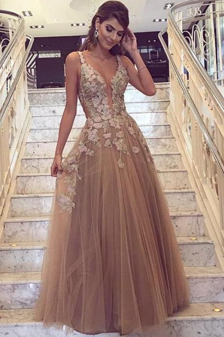 Champagne Prom Dress, Handmade Flowers Prom Dress, Deep V Neck Prom Dress, A Line Prom Dress, Tulle Prom Dress, Prom Dresses 2017, Vestido De Festa De Longo, Elegant Prom Dress, Sexy Formal Dresses