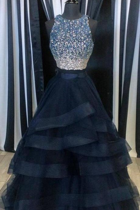Black Prom Dresses, Beaded Prom Dress, Elegant Prom Dress, Rhinestones Prom Dress, 2 Piece Prom Dress, Vestido De Festa De Longo, Sexy Prom Dress, Long Prom Dress, Prom Dresses 2017