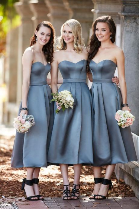 A Line Bridesmaid Dress, Ankle Length Bridesmaid Dress, Short Bridesmaid Dress, Gray Bridesmaid Dress, Bridesmaid Dresses 2017, Wedding Guest Dress, Cheap Bridesmaid Dress, Satin Bridesmaid Dress