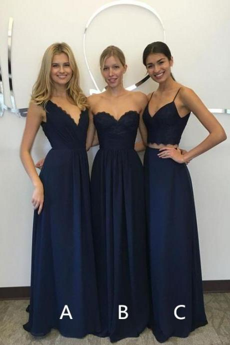 Dark Blue Chiffon and Lace Floor Length Mismatched Bridesmaid Dress