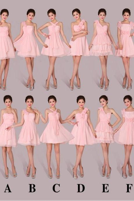 Pink Bridesmaid Dresses, Mismatched Bridesmaid Dresses, Short Bridesmaid Dress, Chiffon Bridesmaid Dress, Cheap Bridesmaid Dress, Wedding Guest Dresses, Junior Bridesmaid Dress