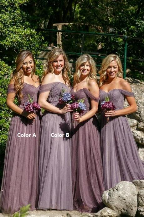 Gray Bridesmaid Dress, Off the Shoulder Bridesmaid Dress, Long Bridesmaid Dress, Tulle Bridesmaid Dress, Bridesmaid Dresses Long, Elegant Bridesmaid Dress, Cheap Bridesmaid Dress, Wedding Guest Dresses