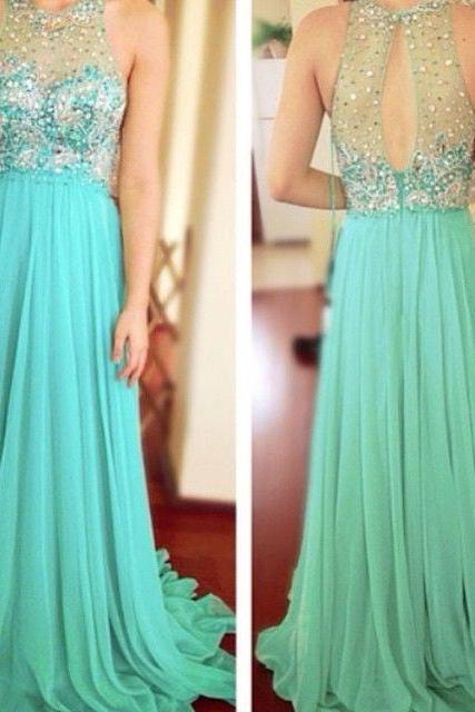 Sexy Prom Dress, Turquoise Blue Prom Dress, Beaded Prom Dress, A Line Prom Dress, Chiffon Prom Dress, Elegant Prom Dress, Long Prom Dress, Prom Dresses 2017, Crystal Prom Dresses