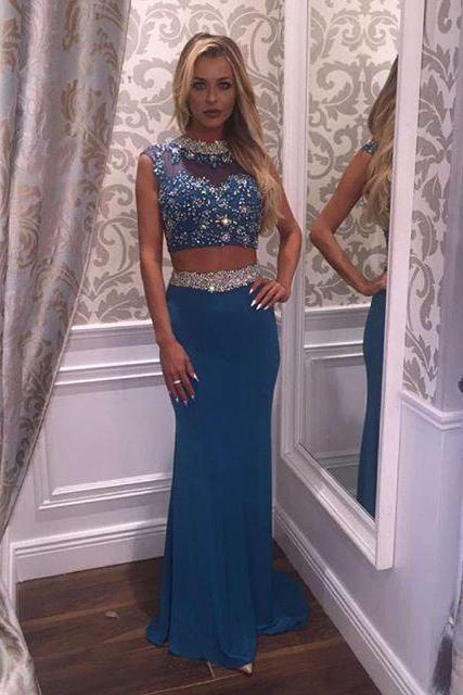 High Neck Prom Dress, Chiffon Prom Dress, Crystal Prom Dress, Beading Prom Dress, Mermaid Evening Dress, 2 Piece Prom Dresses, Chiffon Prom Dress, Sexy Prom Dress, Blue Prom Dress, Luxury Prom Dress