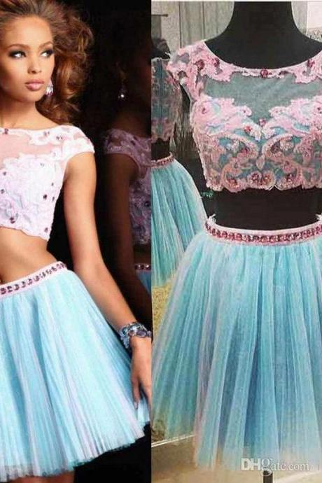 Blue Homecoming Dress, Short Homecoming Dress, Tulle Homecoming Dress, Lace Applique Homecoming Dress, Cocktail Dresses For Women, Cheap Homecoming Dress, Cheap Graduation Dresses