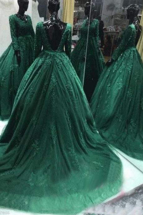 Hunter Green Prom Dress, Puffy Prom Dress, Elegant Prom Dress, Long Sleeve Prom Dress, V Neck Prom Dress, Open Back Prom Dress, Gorgeous Prom Dress, Prom Dresses 2017, Tulle Prom Dress