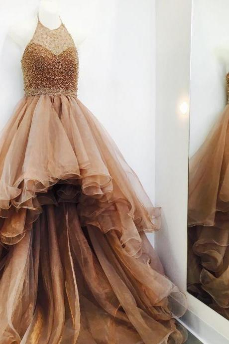 Beaded Prom Dress, Gold Prom Dress, High Low Prom Dress, Prom Dresses 2017, Organza Prom Dress, Sexy Prom Dress, Prom Gowns 2017, Women Formal Dress, Halter Prom Dress, Backless Prom Dress