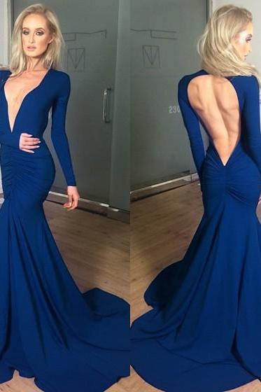 Deep V Neck Evening Dress, Sexy Evening Dress, Navy Blue Evening Dress, Long Sleeve Evening Dress, Mermaid Evening Dress, Women Formal Dresses, Elegant Evening Dress, Cheap Evening Dress