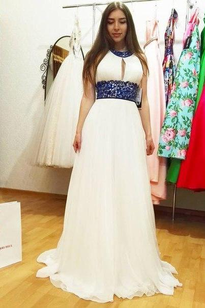 White Prom Dress, Beaded Prom Dress, Sexy Prom Dress, O Neck Prom Dress, Halter Prom Dress, Chiffon Prom Dress, Long Prom Dress, Rhinestones Prom Dress, Backless Prom Dress, 2017 New Fashion Prom Dress, Women Formal Dress
