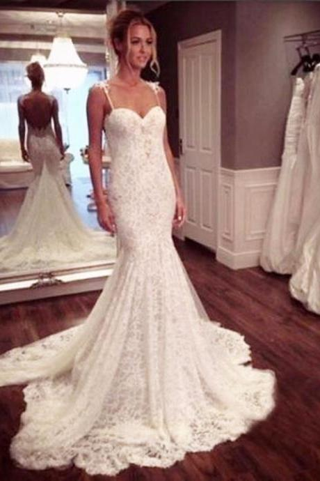 Mermaid Wedding Dress, Spaghetti Straps Wedding Dress, Lace Wedding Dress, Elegant Wedding Dress, Backless Wedding Dress, Sexy Bridal Dress, Wedding Dresses 2017, Cheap Wedding Dress, Sweetheart Neckline Wedding Dress, Vestido De Novia