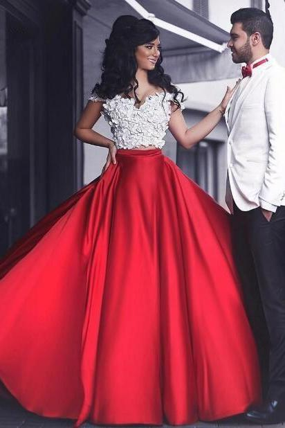 2 Piece Prom Dresses, Red Prom Dress, A Line Prom Dress, Satin Prom Dress, Handmade Flowers Prom Dress, Off Shoulder Prom Dress, Elegant Prom Dress, Cheap Prom Gown, Vestido De Longo