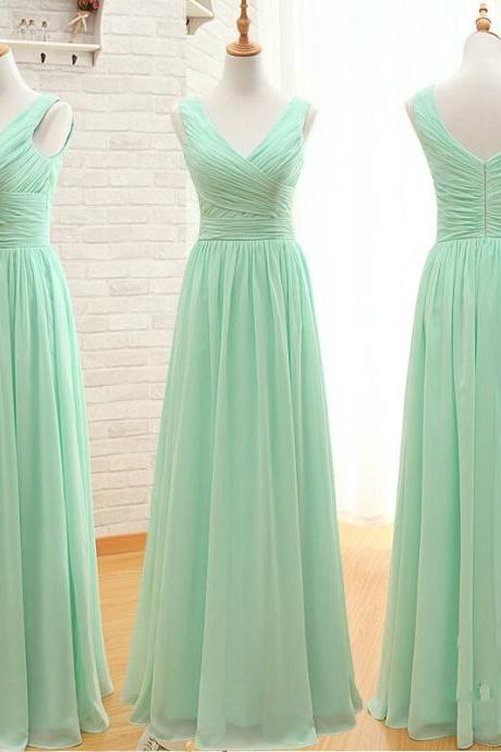 Mint Green Bridesmaid Dress, Chiffon Bridesmaid Dress, Long Bridesmaid Dress, V Neck Bridesmaid Dress, Wedding Guest Dresses, Cheap Bridesmaid Dress, A Line Bridesmaid Dress, Bridesmaid Dresses 2017