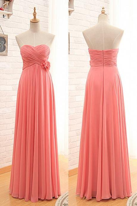 Coral Bridesmaid Dress, Long Bridesmaid Dress, Cheap Bridesmaid Dress, Elegant Bridesmaid Dress, Chiffon Bridesmaid Dress, Bridesmaid Dresses 2018, Wedding Party Dresses
