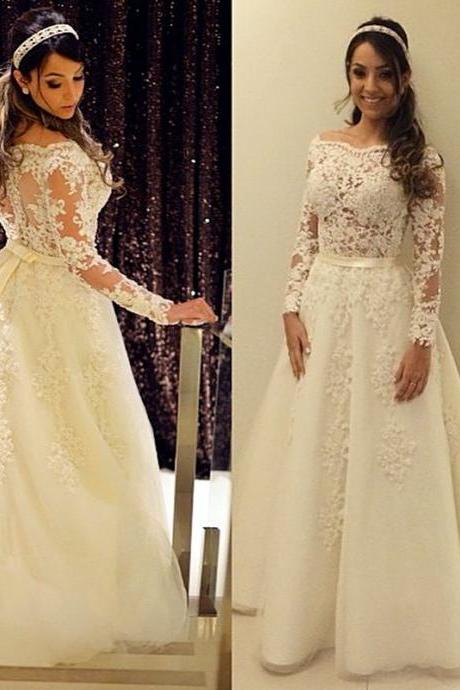 Long Sleeve Wedding Dress, Elegant Wedding Dress, Lace Applique Wedding Dress, Ivory Wedding Dress, Wedding Dresses 2017, Vestido De Novia, A Line Wedding Dress, Cheap Bridal Dresses