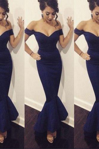 Off Shoulder Evening Dress, Mermaid Evening Dress, Elegant Evening Dress, Satin Evening Dress, Navy Blue Evening Dress, Fishtail Evening Dress, Ankle Length Evening Dress, Sexy Formal Dresses