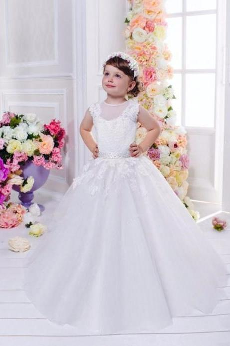 Cute Flower Girl Dress, Flower Girl Dresses for Weddings, Lace Applique Flower Girl Dress, Sleeveless Flower Girl Dress, White Flower Girl Dress, Cheap Flower Girl Dress, Kids Wedding Dress, Pageant Little Girl Dresses