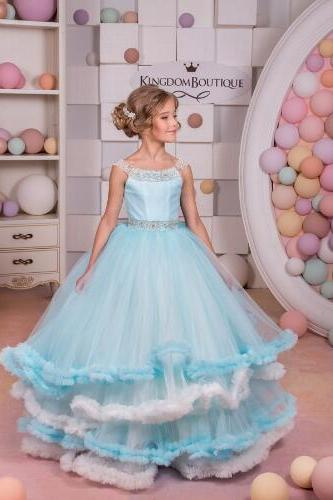 Light Blue Pageant Girl Dresses, Beaded Flower Girl Dresses, Puffy Flower Girl Dress, Sleeveless Pageant Little Girl Dress, Glitz Pageant Little Girl Dress, Cheap Flower Girl Dress, Kids Evening Gown, Flower Girl Dresses for Weddings