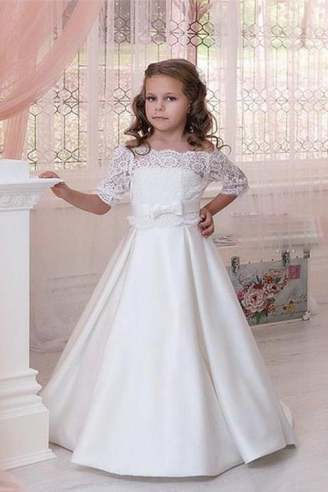 White Flower Girl Dress, Flower Girl Dresses for Weddings, Half Sleeve Flower Girl Dress, Lace Flower Girl Dress, A Line Flower Girl Dress, Cute Flower Girl Dress, Baby Girl Frock Design