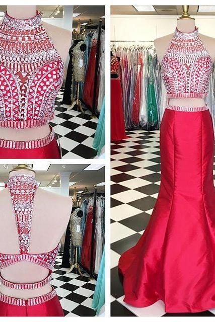 Red Evening Dress, Rhinestone Evening Dress, Mermaid Evening Dress, 2 Piece Prom Dresses, Elegant Evening Dress, Sexy Evening Dress, Satin Evening Dress, Long Evening Dress, Luxury Evening Dress, Formal Dresses 2018
