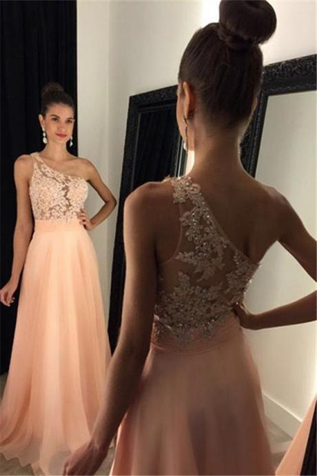 One Shoulder Prom Dress, Lace Applique Prom Dress, Pink Prom Dress, Chiffon Prom Dress, A Line Prom Dress, Elegant Prom Dress, Prom Dresses 2018, Vestido De Festa, Cheap Prom Dress, Women Formal Dress