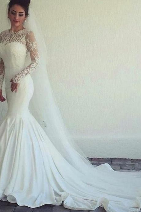 Mermaid Wedding Dress, Elegant Wedding Dress, White Wedding Dress, Long Sleeve Wedding Dress, Lace Wedding Dress, Cheap Bridal Dress, Elegant Wedding Dress, Vestido De Novia