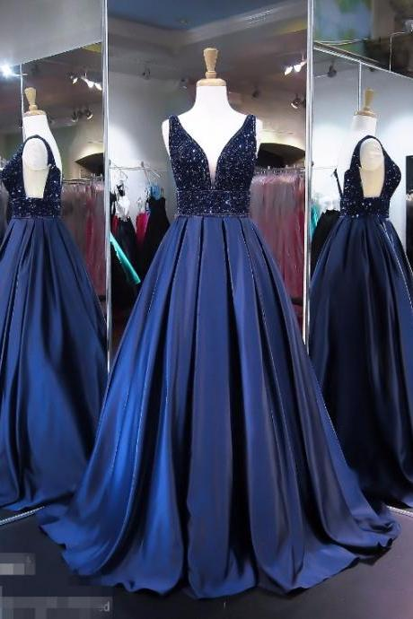 Crystal Prom Dress, Deep V Neck Prom Dress, Navy Blue Prom Dress, Satin Prom Dress, A Line Prom Dress, Backless Prom Dress, Elegant Prom Dress, Vintage Prom Dress, Vestido De Festa