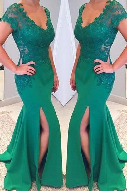 Green Evening Dress, Mermaid Evening Dress, Cap Sleeve Evening Dress, Lace Applique Evening Dress, Satin Evening Dress, Evening Dresses 2018, Sexy Evening Dress, Evening Dresses for Women
