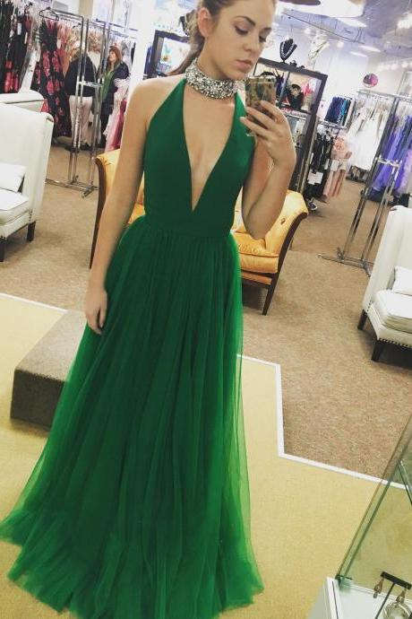 Sexy Prom Dress, Green Prom Dress, Tulle Prom Dress, Rhinestones Prom Dress, A Line Prom Dress, Cheap Graduation Dress, Prom Dresses 2018, Vestido De Festa De Longo, Elegant Prom Dress