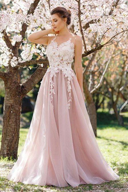 Dusty Pink Prom Dress, Lace Applique Prom Dress, Prom Dresses 2018, Elegant Prom Dress, A Line Prom Dress, Women Formal Dresses, Sleeveless Prom Dress, Tulle Prom Dress