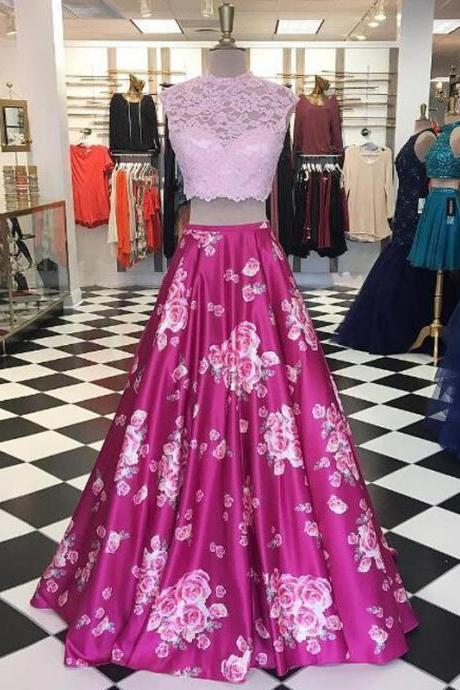 2 Piece Prom Dresses, Pink Prom Dress, Printed Prom Dress, Lace Prom Dress, High Neck Prom Dress, A Line Prom Dress, Floor Length Prom Dress, Evening Dresses Long 2018, Cheap Prom Dresses