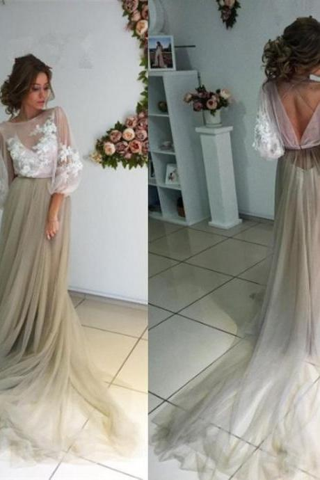 Flare Sleeves Prom Dress, Light Brown Prom Dress, Lace Applique Prom Dress, Sexy Formal Dress, Open Back Prom Dress, Tulle Prom Dress, Prom Dresses 2018, Vestido De Festa De Longo, Cheap Prom Dress