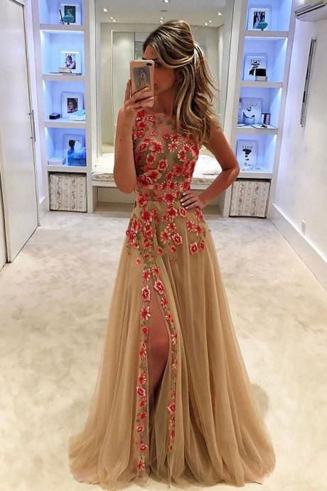 Champagne Prom Dress, Embroidery Lace Prom Dress, Sexy Prom Dress, Sleeveless Prom Dress, Tulle Prom Dresses with Side Slit, Elegant Prom Dress, Women Formal Dress, Cheap Prom Dress, Prom Dresses 2018