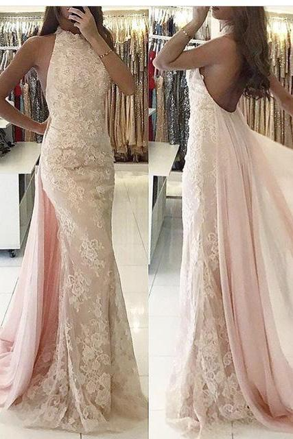 Pink Evening Dress, Pale Pink Evening Dress, Lace Evening Dress, High Neck Evening Dress, Detachable Skirt Evening Dress, Mermaid Evening Dress, Sexy Evening Dress, Women Formal Dress, Elegant Evening Dress, Sleeveless Evening Dress