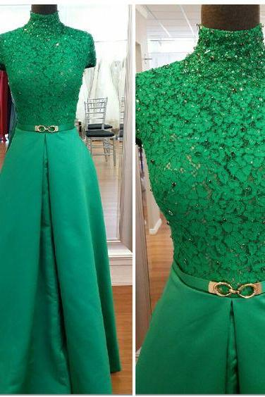 High Neck Prom Dress, A Line Prom Dress, Satin Prom Dress, Green Prom Dress, Elegant Prom Dress, Lace Prom Dress, Floor Length Prom Dress, Prom Dresses 2018, Vestido De Festa, Cheap Prom Dress