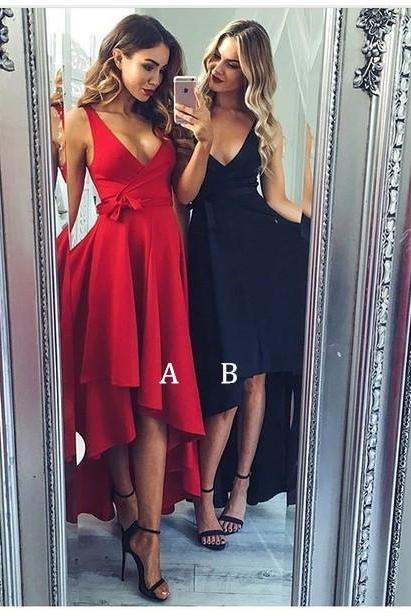High Low Prom Dress, Red Prom Dress, Black Prom Dress, A Line Prom Dress, Prom Dresses 2018, Sexy Formal Dress, Elegant Prom Dress, Deep V Neck Prom Dress, Cheap Prom Dress