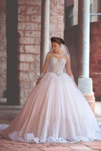 Luxury Wedding Ball Gown, Princess Wedding Dress, Peals Wedding Dress, Long Sleeve Wedding Dress, Cheap Wedding Dress, Vestido De Novia, Elegant Wedding Dress, Rhinestones Wedding Dress, Tulle Wedding Dress