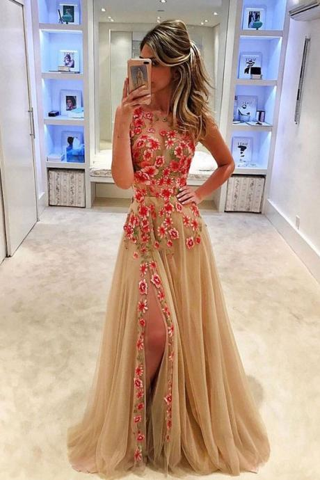 Embroidery Lace Prom Dress, A Line Prom Dress, Champagne Prom Dress, Sleeveless Prom Dress, Tulle Prom Dress, Prom Dresses 2018, Vestido De Festa, Sexy Formal Dress, Elegant Prom Dress, Women Formal Dress